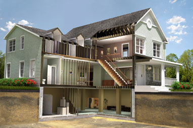 3D image of different levels of a house used for home warranty solutions.