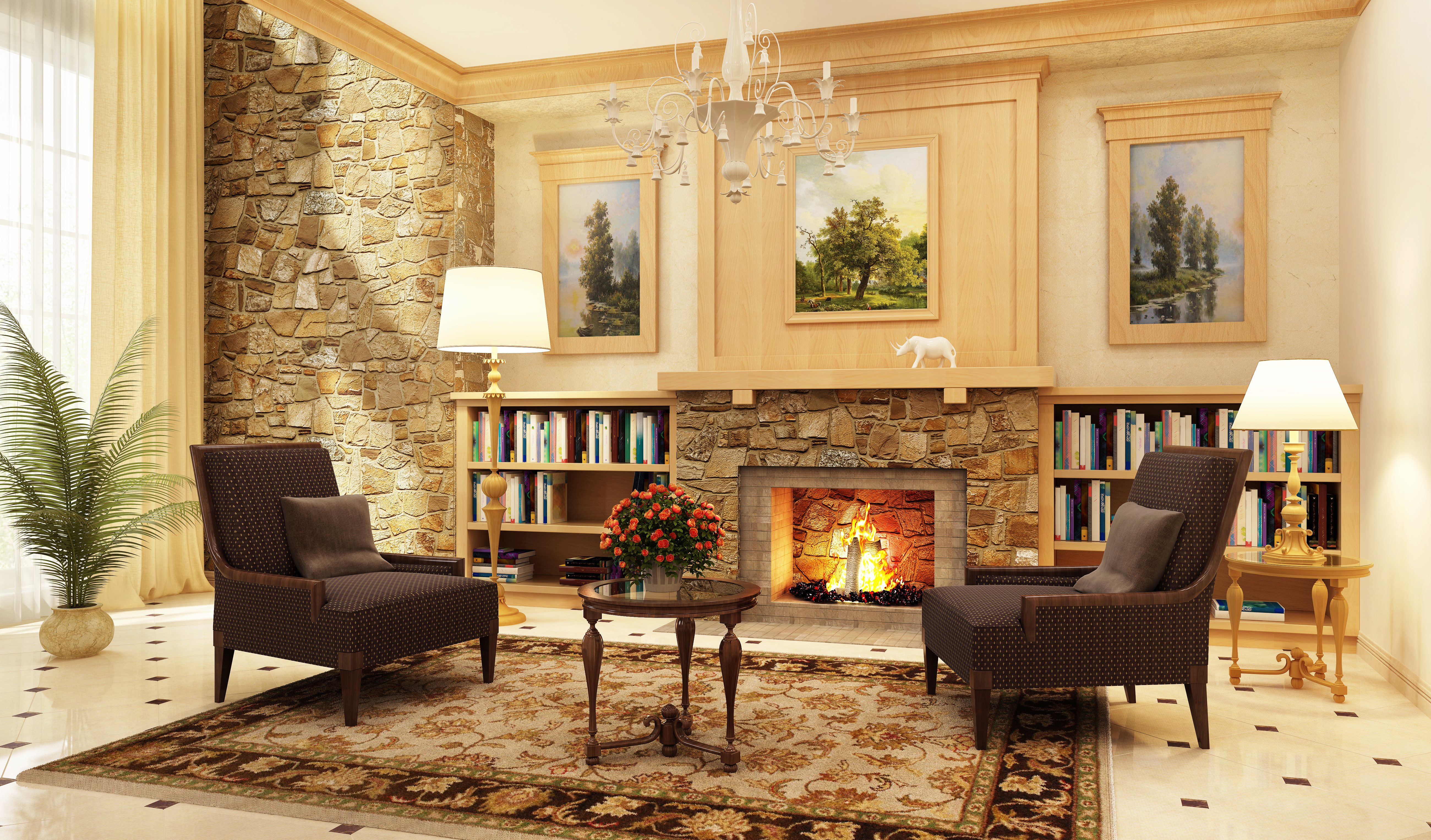 Pictures of model homes - Fireplace And Decor For Model Home