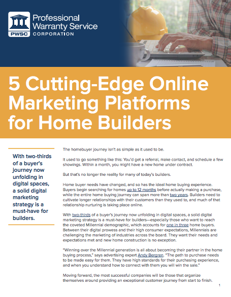 White Paper: Cutting Edge Online Marketing for Home Builders
