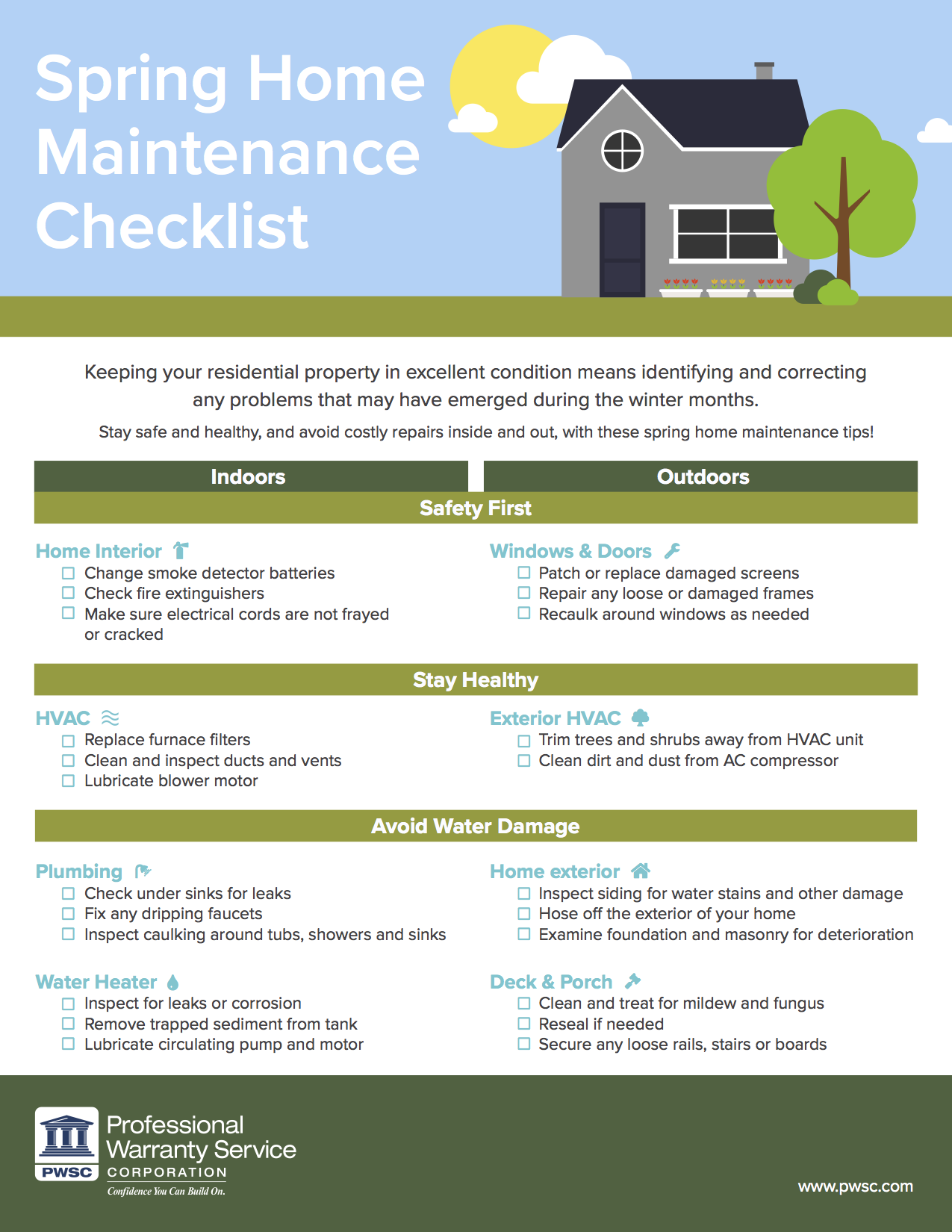 Spring Home Maintenance Guide for Homeowners Infographic
