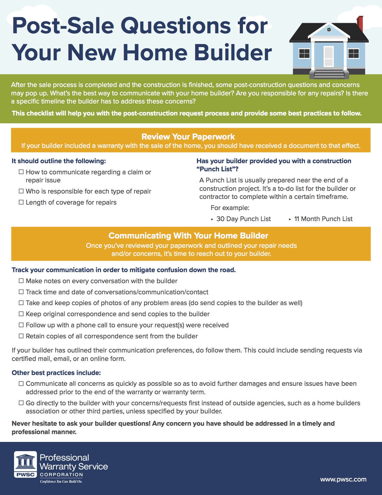 Post Questions And Concerns For New Construction Purchases